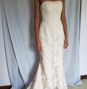 Oleg Cassini Strapless Ivory Wedding Dress